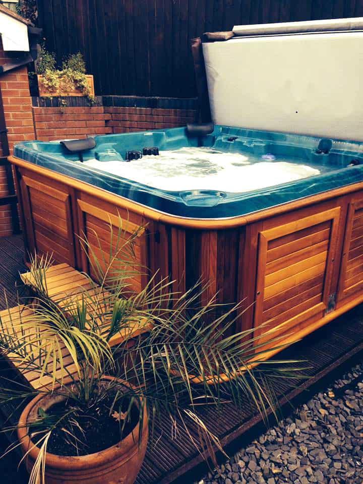 Hot tub in the backyard