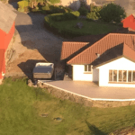The view at a house from a helicopter