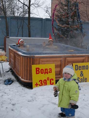 arctic spas hot tub in russian winter