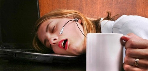 tired woman fall asleep at work